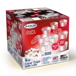 Satco Round Plastic Containers 4oz (1000)
